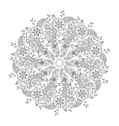 Mendie mandala with flowers and leaves isolated vector