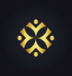People diversity square gold logo vector