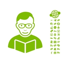 Reader icon with free bonus vector