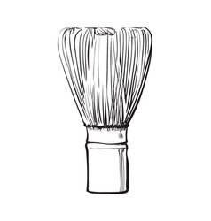 Side view drawing of wooden whisk for matcha tea vector