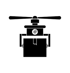 Silhouette drone carrying box with one airscrew vector