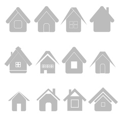 Silhouettes house set vector