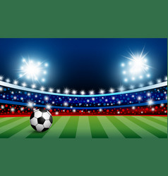 Soccer ball on green grass in the stadium vector