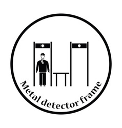 Stadium metal detector frame with inspecting fan vector image