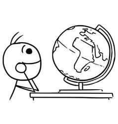 Stickman cartoon of men watching the globe and vector