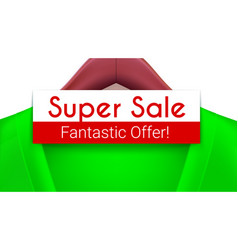 Super sale ad banner green jacket with tag vector