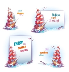 travel banner set with ship in ocean vector image