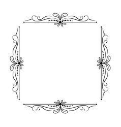 Vintage elegant square frame with leaves vector