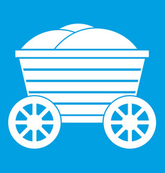 Vintage wooden cart icon white vector
