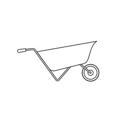 wheelbarrow flat icon monochrome silhouette vector image