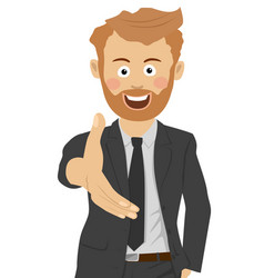 young businessman gives his hand to shake hands vector image