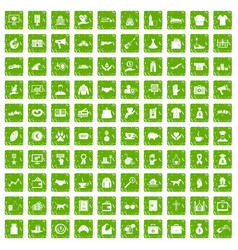 100 charity icons set grunge green vector