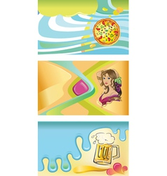 Three templates for visit cards- pizza beer wine vector