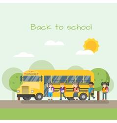 school bus and children vector image