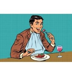 Elegant retro man eats in the restaurant and vector