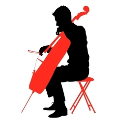 Silhouettes a musician playing the cello vector