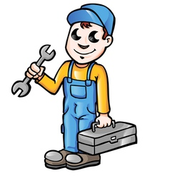 Happy cartoon plumber or mechanic with spanner vector