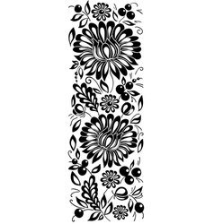 black-and-white flowers and leaves Floral design e vector image