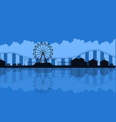 Scenery amusement park background silhouette vector