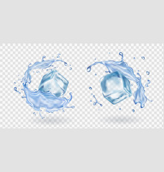 Ice cube and water splashing stransparent et vector