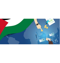 Palestine economy fiscal money trade concept vector