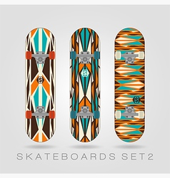 Skateboard set retro tracery vector