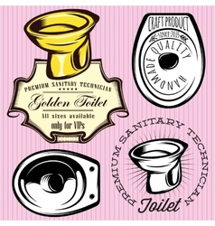 Set of elements for making logos with toilet bowl vector