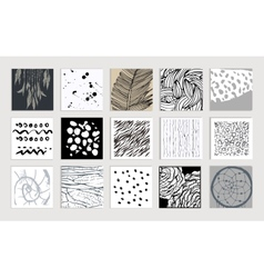 Set of creative cards hand drawn textures made vector