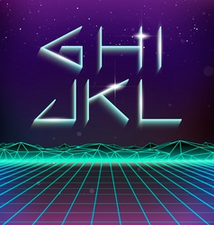 80s retro futurism geometric font from g to l vector