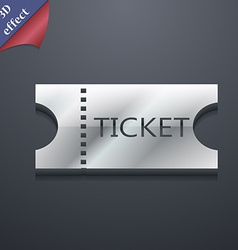 Ticket icon symbol 3d style trendy modern design vector