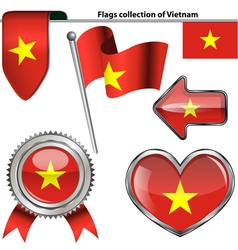 Glossy icons with vietnam flag vector