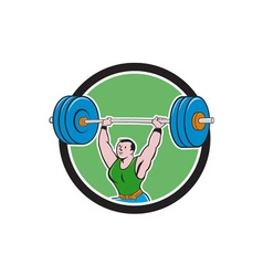 Weightlifter lifting barbell circle cartoon vector