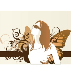 Fashion model butterfly vector