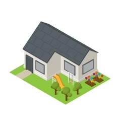 Isometric house building icon vector