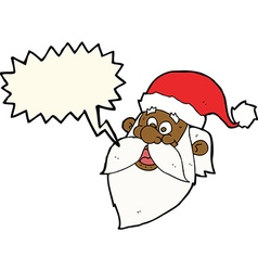 Cartoon jolly santa claus face with speech bubble vector