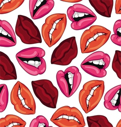 Pattern with sexy red lips vector