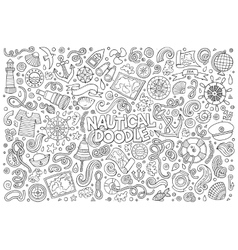 Doodle cartoon set nautical objects and vector