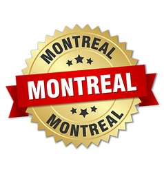 Montreal round golden badge with red ribbon vector