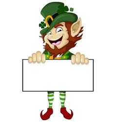 Happy leprechaun with blank sign vector