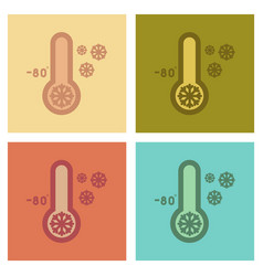 assembly flat icons nature thermometer cold vector image vector image