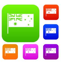 Australian flag set color collection vector