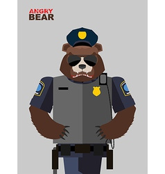 Bear police angry animals vector