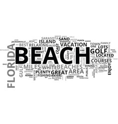 Best florida beaches text word cloud concept vector