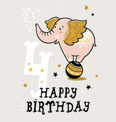 birthday card for 4 year old baby vector image vector image