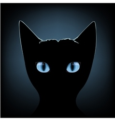 Black cat blue eyes vector