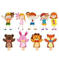 Boys and girls with hand puppets vector image