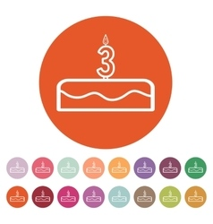 Cake with candles in the form of number 3 icon vector image