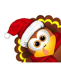 Cartoon turkey in a santa hat on white background vector