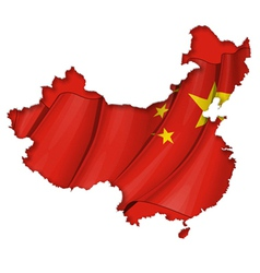 Chinese map flag vector
