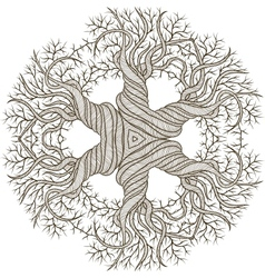 Circular ornament from abstract tree with curling vector